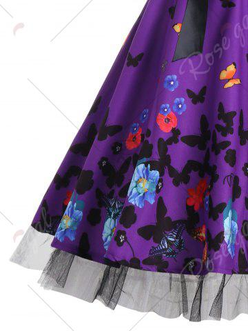 Fancy Vintage Butterfly Print Halter A Line Dress - XL DEEP PURPLE Mobile