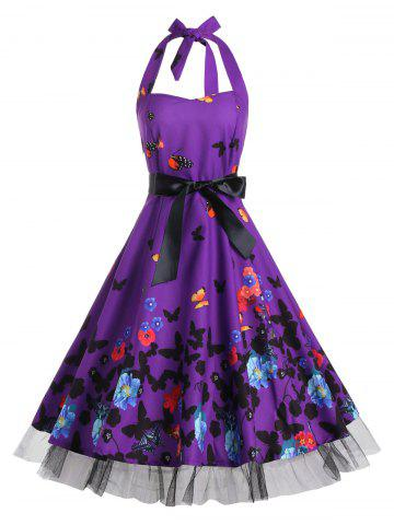 Hot Vintage Butterfly Print Halter A Line Dress - M DEEP PURPLE Mobile