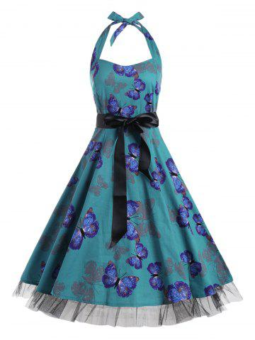 Shop Vintage Butterfly Print Halter A Line Dress - S DEEP GREEN Mobile