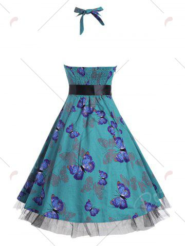 Unique Vintage Butterfly Print Halter A Line Dress - S DEEP GREEN Mobile