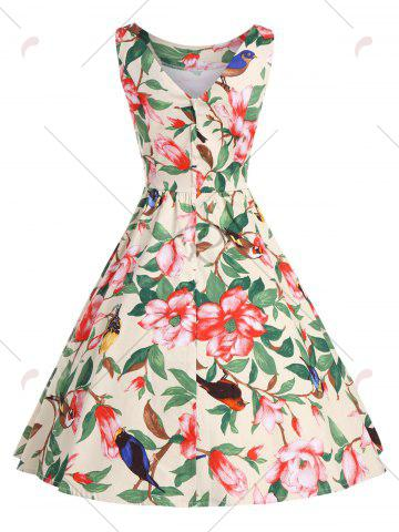 Sale Floral Belted Vintage A Line Dress - XL YELLOW Mobile