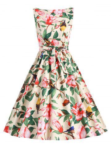 Cheap Floral Belted Vintage A Line Dress - XL YELLOW Mobile