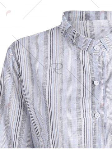 Affordable Plus Size Ruffle Vertical Striped Smock Shirt Dress - 3XL WHITE Mobile