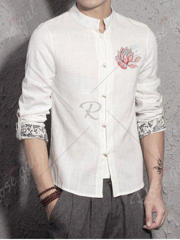 Outfit Mandarin Collar Cotton Linen Floral Embroidered Shirt - L WHITE Mobile