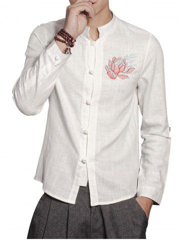 Fancy Mandarin Collar Cotton Linen Floral Embroidered Shirt - L WHITE Mobile