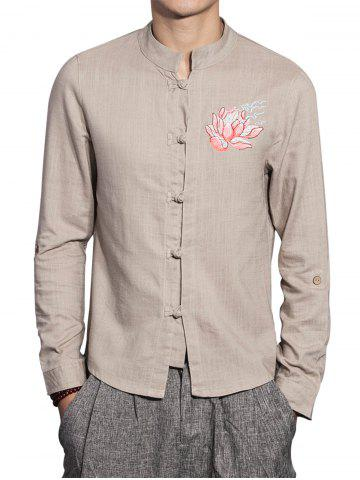 Affordable Mandarin Collar Cotton Linen Floral Embroidered Shirt - 5XL DARK KHAKI Mobile