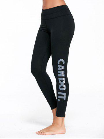 Letter Can Do It Graphic Sports Tights - Gray - S