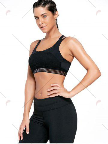Outfit Strappy Back Padded Sports Bra - S BLACK Mobile
