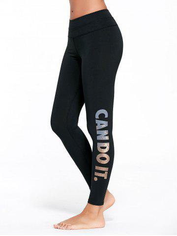 Hot Letter Can Do It Graphic Sports Tights - S GOLDEN Mobile