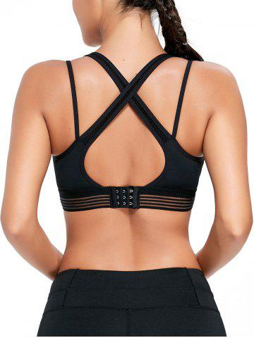 Discount Strappy Back Padded Sports Bra BLACK M