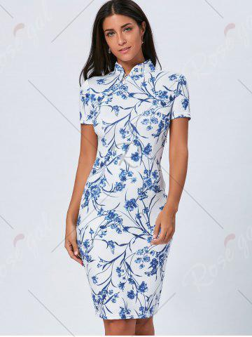 Buy Vintage Blue and White Porcelain Cheongsam Dress - XL BLUE Mobile