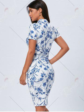 Shops Vintage Blue and White Porcelain Cheongsam Dress - XL BLUE Mobile