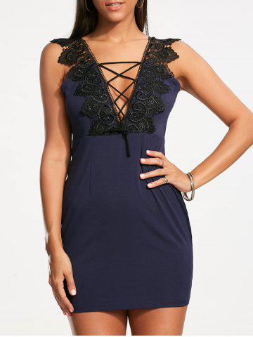 Store Plunging Neckline Lace Trim Sleeveless Bodycon Dress - S CERULEAN Mobile