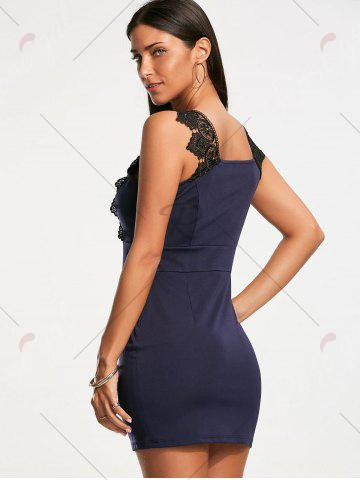 Best Plunging Neckline Lace Trim Sleeveless Bodycon Dress - S CERULEAN Mobile