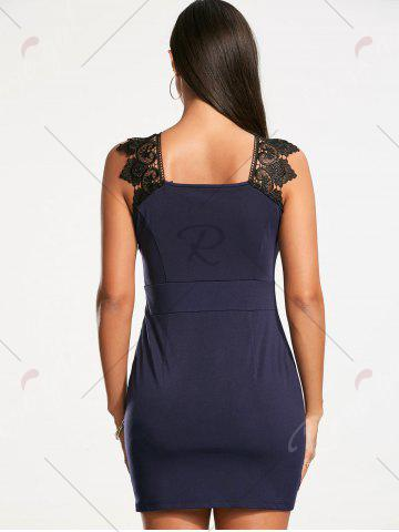 Cheap Plunging Neckline Lace Trim Sleeveless Bodycon Dress - S CERULEAN Mobile