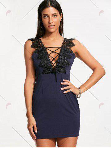 Buy Plunging Neckline Lace Trim Sleeveless Bodycon Dress - S CERULEAN Mobile