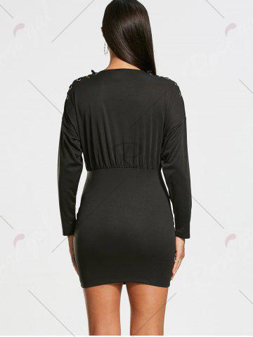 Cheap Zipper Drop Shoulder Long Sleeve Bodycon Dress - S BLACK Mobile