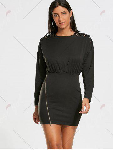 Hot Zipper Drop Shoulder Long Sleeve Bodycon Dress - S BLACK Mobile