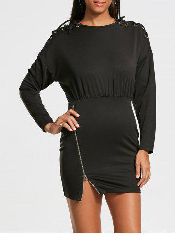 Shop Zipper Drop Shoulder Long Sleeve Bodycon Dress - S BLACK Mobile