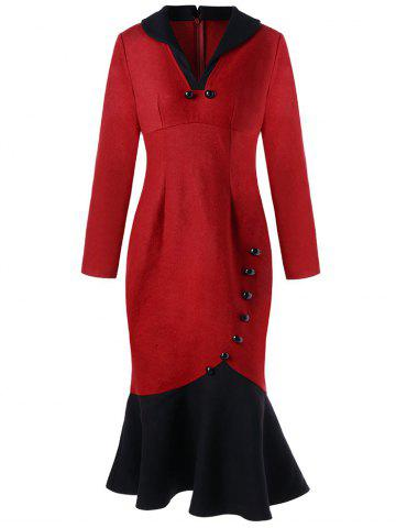 Button Decorated Long Sleeve Mermaid Dress - Red - 2xl