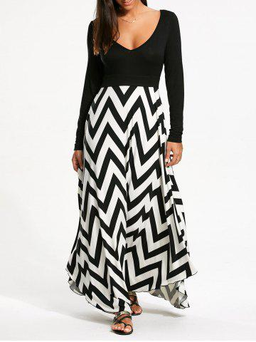 Zigzag Print Long Sleeve Maxi Dress - Black + White - Xl