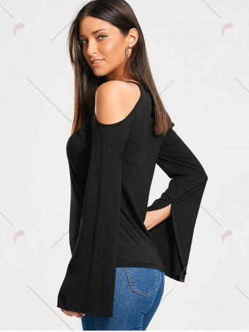 Discount Lace Panel Cold Shoulder Long Sleeve T-shirt - S BLACK Mobile