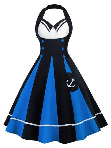 Trendy Vintage Color Block Halter Backless Pin Up Dress - S BLUE AND BLACK Mobile