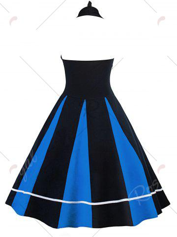 Cheap Vintage Color Block Halter Backless Pin Up Dress - S BLUE AND BLACK Mobile