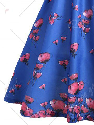 Unique Vintage Floral Scalloped Neck A Line Dress - L BLUE Mobile