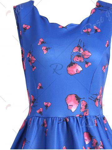 Buy Vintage Floral Scalloped Neck A Line Dress - L BLUE Mobile