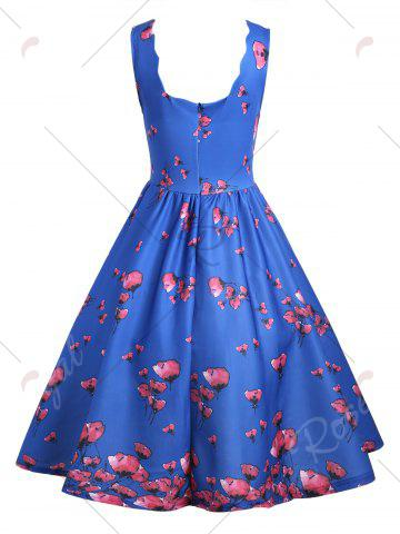 Discount Vintage Floral Scalloped Neck A Line Dress - L BLUE Mobile