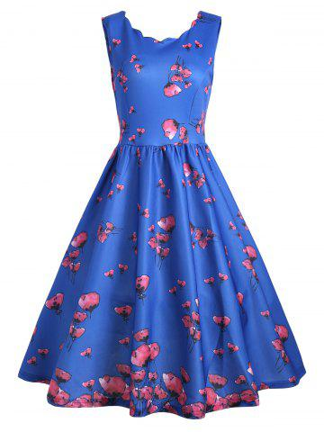 Unique Vintage Floral Scalloped Neck A Line Dress - XL BLUE Mobile