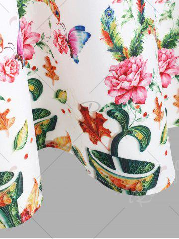 Latest A Line Sleeveless Floral Vintage Dress - M WHITE Mobile