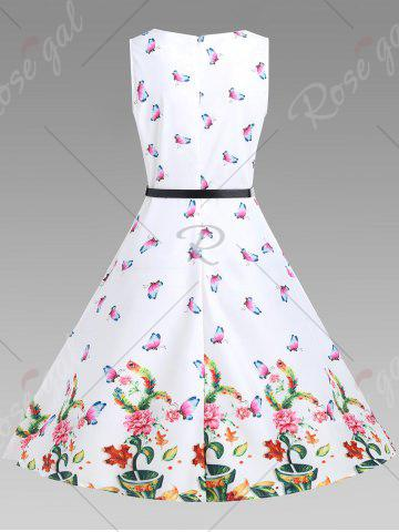 Buy A Line Sleeveless Floral Vintage Dress - M WHITE Mobile