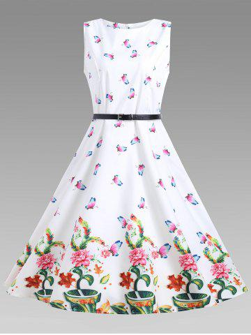 Hot A Line Sleeveless Floral Vintage Dress - L WHITE Mobile