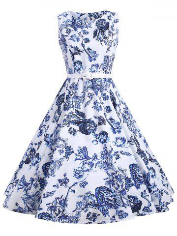 Cheap Vintage Floral Sleeveless A Line Dress - M FLORAL Mobile