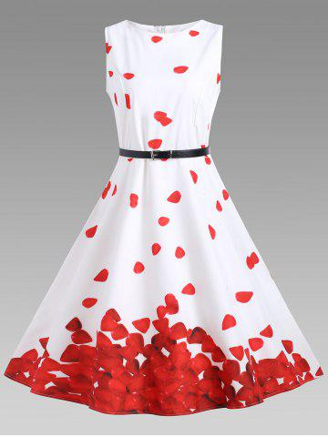 Outfit Printed Vintage A Line Dress - S RED WITH WHITE Mobile