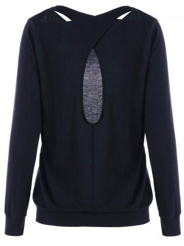 Buy Cutout Criss Cross Sweatshirt - L BLACK Mobile