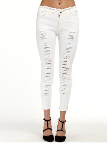 Best Ripped Cropped Cigarette Pants WHITE 2XL