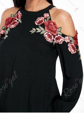Outfit Applique Embroidery Open Shoulder Top - M BLACK Mobile
