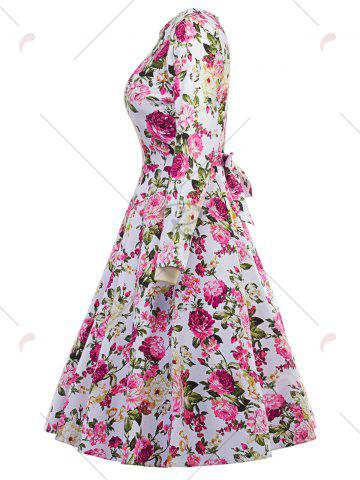 Trendy Vintage Floral Fit and Flare Dress - 2XL FLORAL Mobile