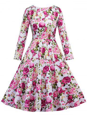 Online Vintage Floral Fit and Flare Dress - 2XL FLORAL Mobile
