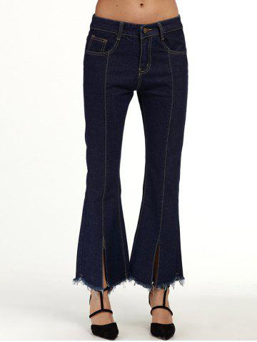 Chic Seamed Flare Jeans with Frayed Hem - M DEEP BLUE Mobile