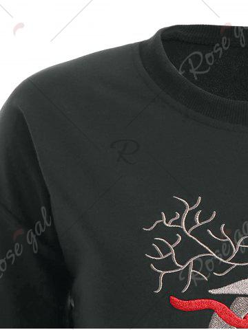 Best Plus Size High Low Elk Embroidered Top - 2XL DEEP GRAY Mobile