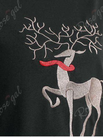Shops Plus Size High Low Elk Embroidered Top - 2XL DEEP GRAY Mobile