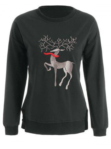 Shop Plus Size High Low Elk Embroidered Top - 2XL DEEP GRAY Mobile