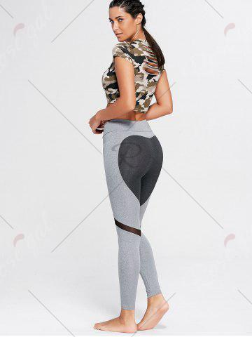 Online Heart Pattern Mesh Panel Workout Leggings - S GRAY Mobile