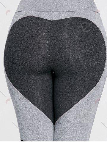 Discount Heart Pattern Mesh Panel Workout Leggings - S GRAY Mobile