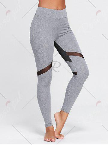 Best Heart Pattern Mesh Panel Workout Leggings - S GRAY Mobile