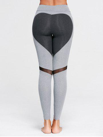 New Heart Pattern Mesh Panel Workout Leggings - S GRAY Mobile